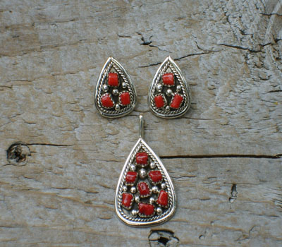 Native American Coral Earring & Pendant Set