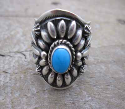 Ring Silver Darryl Becenti Sterling Turquoise sz 11.5