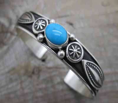 American Turquoise Cuff Bracelet Navajo