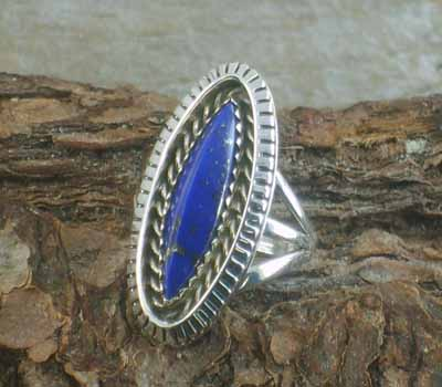 Artie Yellowhorse Angular Domed Lapis Ring -sz 6.5