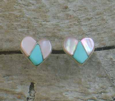 American Indian Earrings - Zuni Heart Earrings