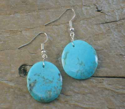 American Indian Earrings - Sky Blue Slab