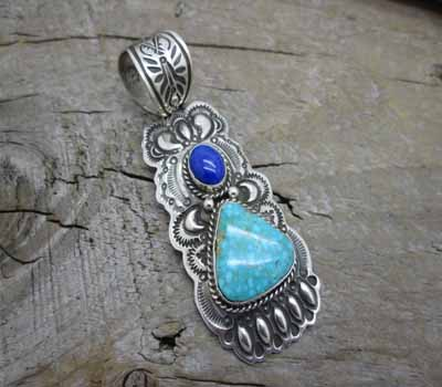 Indian Pendant Turquoise  Lapis  Bear Claw Design- Favorite