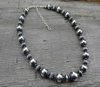 Native American Sterling bead necklace