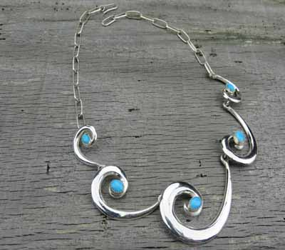 Native American Whirling Wind Necklace Turquoise