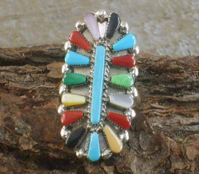 Native American Multi Cluster Ring- sz 6.75