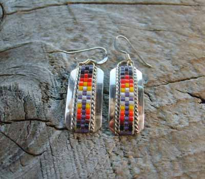 Indian Silver and Bead Earrings Dangle C