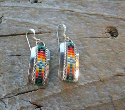 Indian Silver and Bead Earrings Dangle E