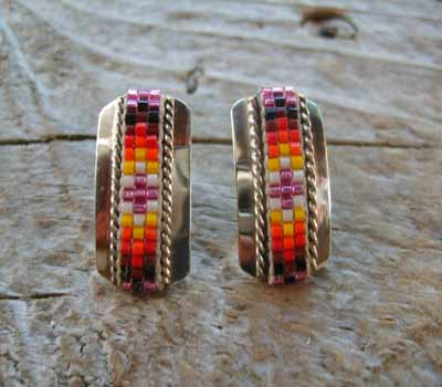 Indian Silver and Bead Earrings Post F