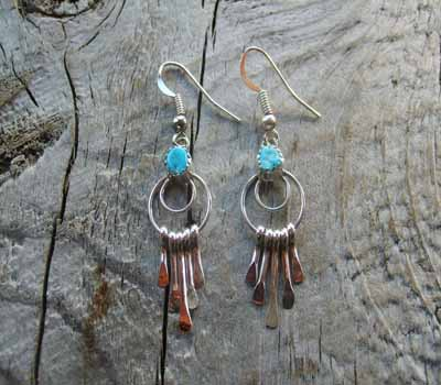 Indian Dangle Turquoise Earrings- Small