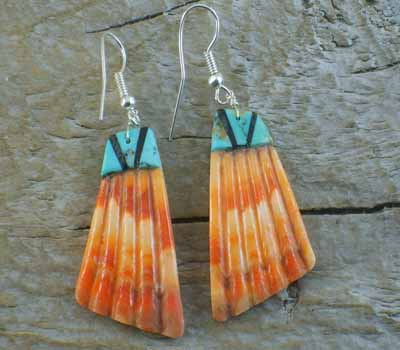 Orange Spiney w/ Turquoise Inlay Slab Earrings