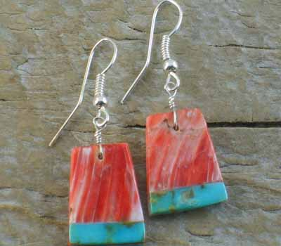 Red Spiney w/ Turquoise Inlay Slab Earrings