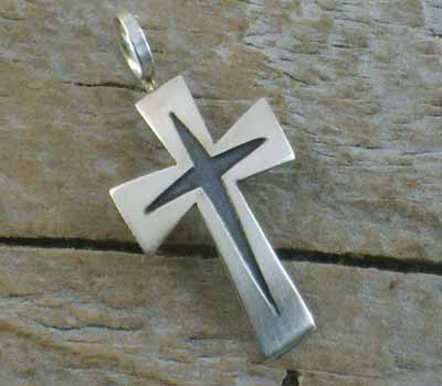 American Indian Silver Cross Pendant