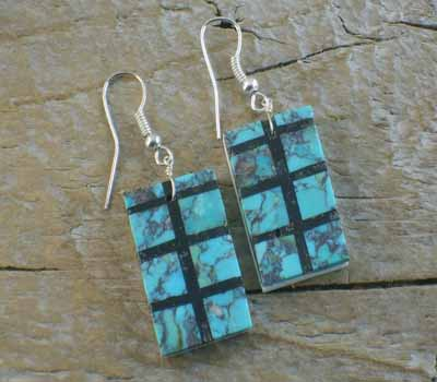 Turquoise & Jet Inlay Slab Earrings