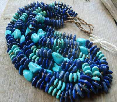 Native American Necklace Santo  Lapis and Turquoise