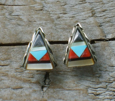 Native American Zuni Inlay Earrings