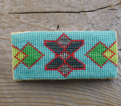 Native American Beaded Barrette - Turquoise Large