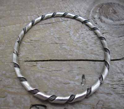 Native American Sterling Bangle Bracelet -