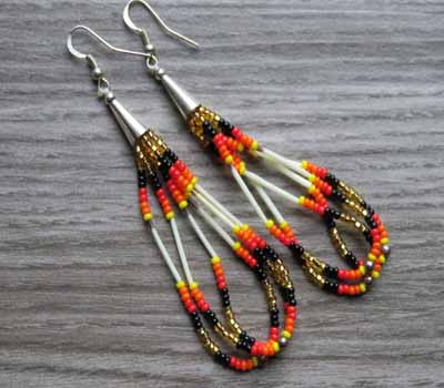 Earrings Native American Beaded Loop