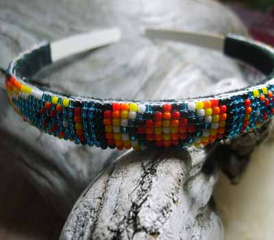 Native American  - Beaded Headband Blue Sparkle