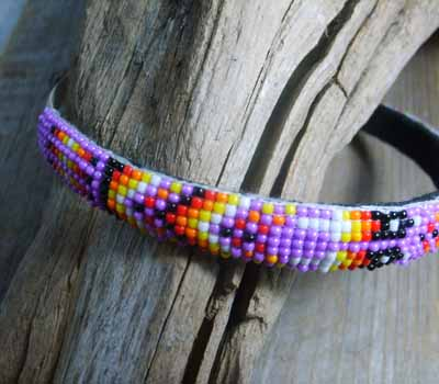 Native American  - Beaded Headband Magenta Sparkle