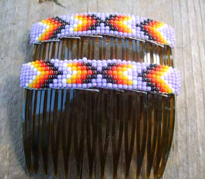 Native American  - Beaded Hair Combs Lavender