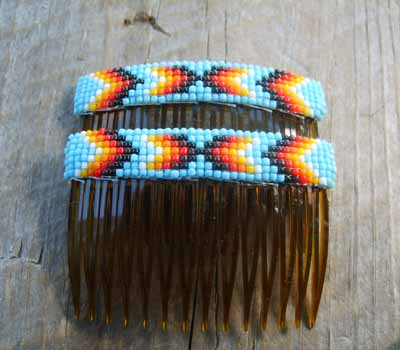 Native American  - Beaded Hair Combs Baby Blue