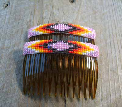 Native American  - Beaded Hair Combs Pink Sparkle