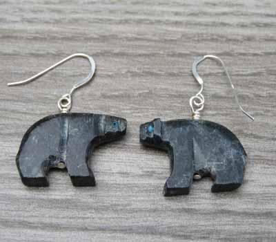 Carved Bear Fetish Earrings 1