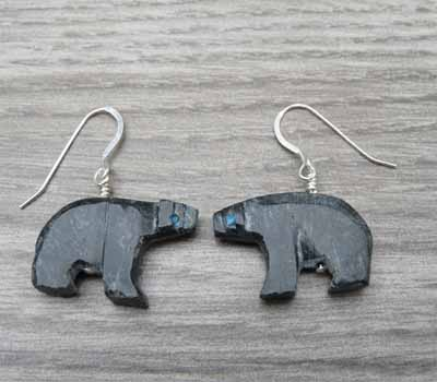 Carved Bear Fetish Earrings 2