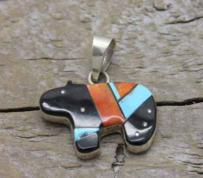 Native American Inlay Bear Pendant