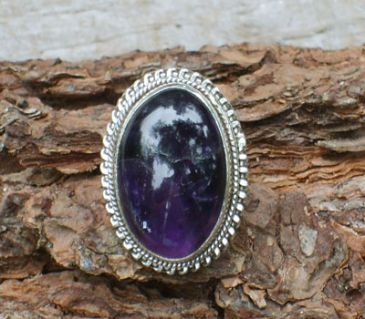 Ring Amethyst Domed  - sz 6.5