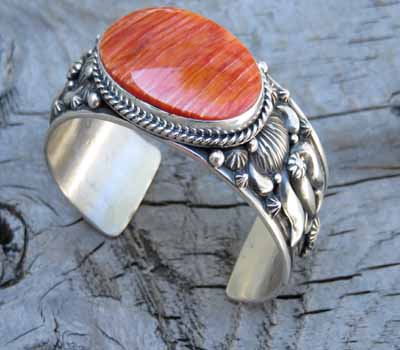 Orange Spiney American Indian Cuff Bracelet - Darryl Becenti
