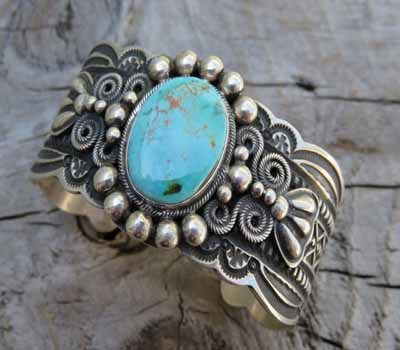 Andy Cadman Turquoise Cuff Bracelet Pilot Mountain