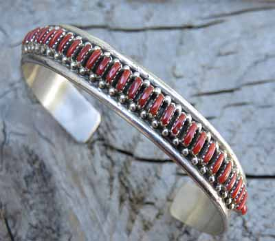 Coral Zuni Needle Point Cuff Bracelet -Native American