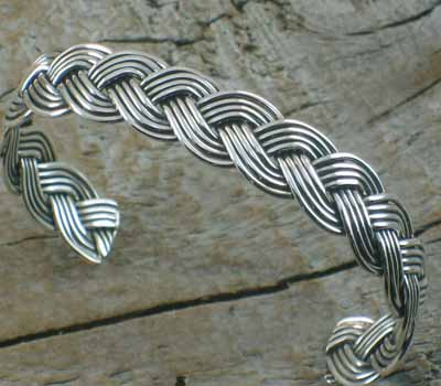Native American Jewelry /Sterling Silver Braided Cuff Bracelet - sz 6.75