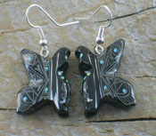 Native American Zuni Marble Butterfly Maiden Earrings
