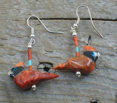 SouthWest  Carved Cardinal Earrings