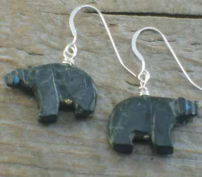 Carved Bear Fetish Earrings