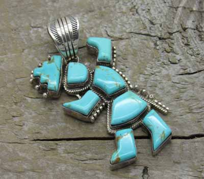 Turquoise Pendant Native American Jewelry- Kachina
