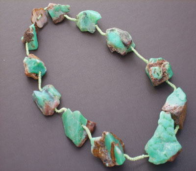 Chrysoprase Gemstone Nugget Necklace