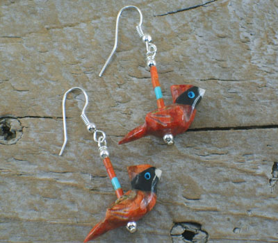 Cardinal Earrings - southwest carved coral