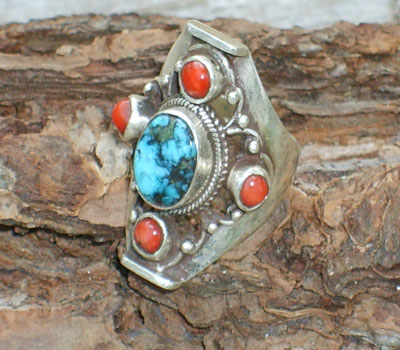 Tibetan Ring Turquoise and Red Coral - sz 6 3/4