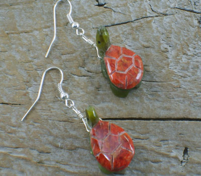 Southwest Fetish Jewelry Coral Turtle Earrings