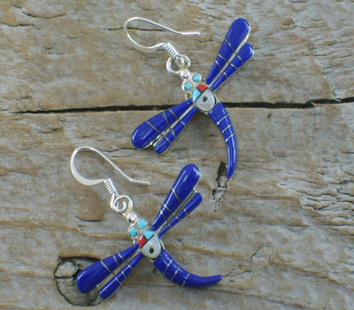 Earrings Lapis Lazuli Inlay Dragonfly