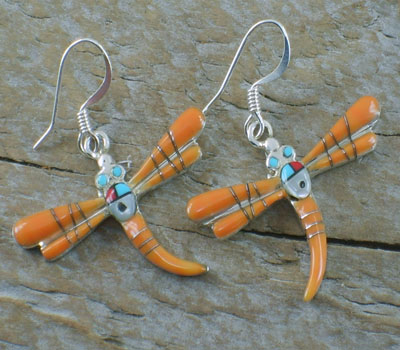 Orange Spiny Oyster Shell Inlay Dragonfly Earrings