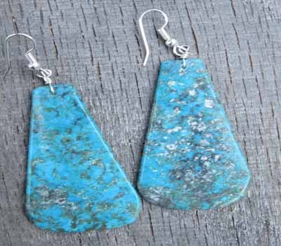 Turquoise Slab Earrings -Kingman Large E
