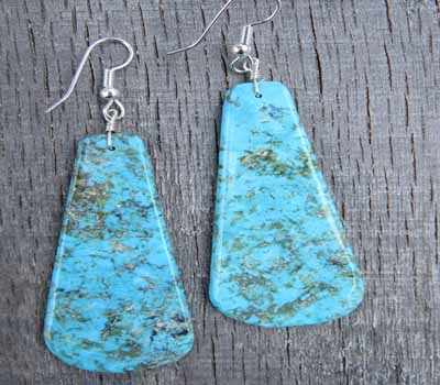 Turquoise Kingman Slab Earrings - Large B
