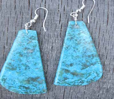 Turquoise Slab Earrings - Kingman Large F