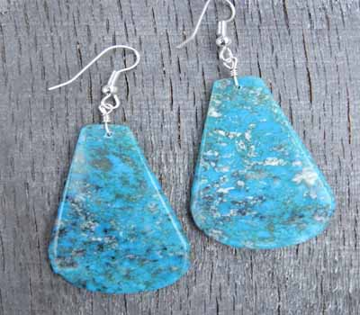 Turquoise Slab Earrings -Kingman Large C